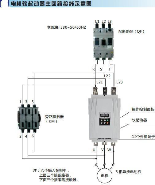 待电机达到额定转数时,启动过程结束,软启动器自动用旁路接触器取代已